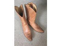 Unisex leather cowboy boots size8