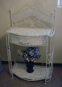 Antique White Wrought Iron and Wicker Folding Shelf