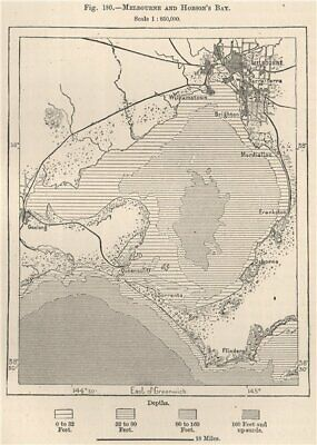 Melbourne and Hobson's Bay. Australia 1885 old antique vintage map plan chart