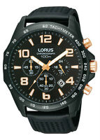 LORUS MEN'S CHRONOGRAPH BLACK LEATHER BAND RT355C