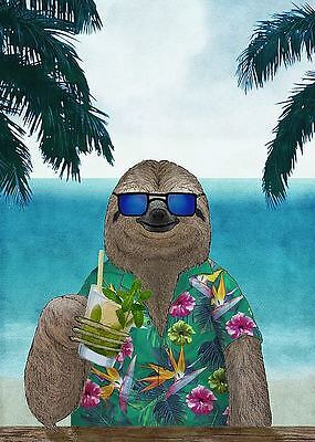 SLOTH ART POSTER cute funny animal wearing sunglasses drinking mimosa at (Sloth Wearing Sunglasses)
