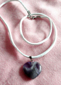 Amethyst Heart Pendant - 22x23mm comes on white suede leather ne