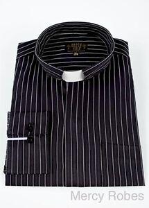 New mens black white pin stripe clergy shirt tab collar for Mens tab collar dress shirts