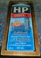 Rustic wood HP Sauce ad -mounted & ready to display in Kitchen
