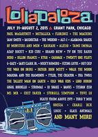 Lollapalooza Chicago 2015- Passe de 3 jours