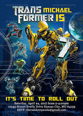 Transformer Party Invites (Transformers Invitation, Bumblebee Party)