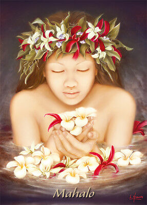 4 GREETING CARDS Hawaiian THANK YOU Ke'ala by Lori Higgins - GLITTER