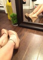 Nude Wedges Ankle Strap size 8