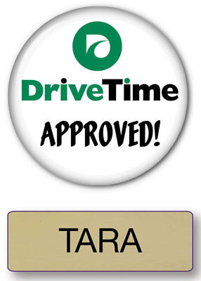 TARA DRIVE TIME COMMERCIAL PIN BACK NAME BADGE & BUTTON HALLOWEEN SHIPS FREE (Commercial Drive Halloween Costumes)