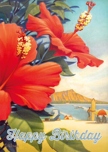 4 GREETING CARDS Hawaii HAPPY BIRTHDAY Hibiscus Beach Day by Kerne Erickson