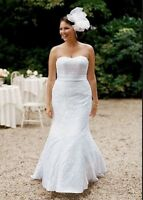 David's Bridal Lace Over Satin Fit & Flare Wedding Gown
