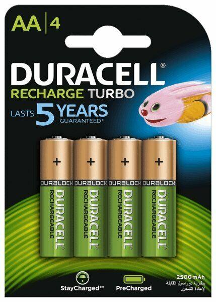 4 x Duracell Turbo R6 / AA 2500 mAh wiederaufladbare Batterien (Blister)