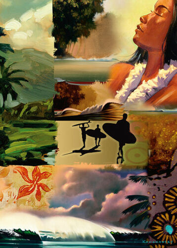 4 GREETING CARDS Hawaiian HAPPY BIRTHDAY Collage by Wade Koniakowsky