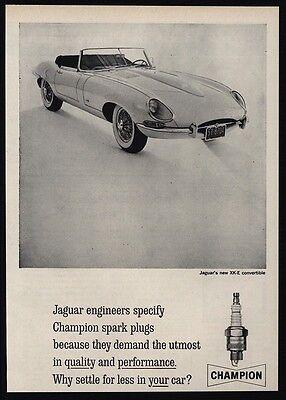 1961 JAGUAR XK-E Convertible Sports Car - CHAMPION Spark Plugs VINTAGE AD