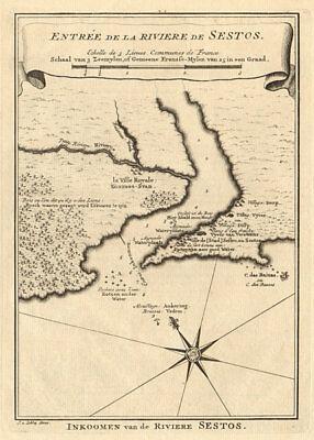 Entrée de la Rivière de Sestos. River Cess Cestos Liberia BELLIN/SCHLEY 1748 map