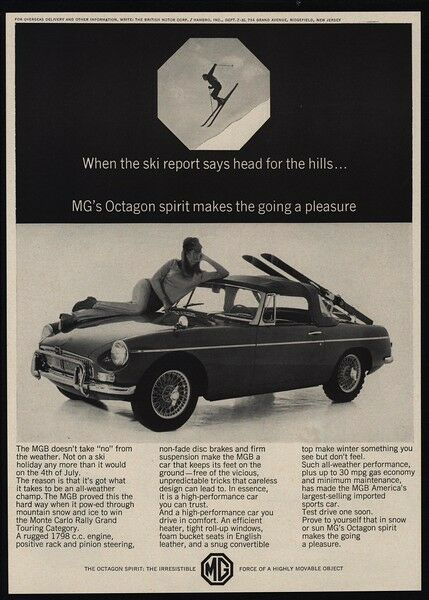 1966 MG Convertible Sports Car - Sexy Woman Skier - Ski - MGB VINTAGE AD