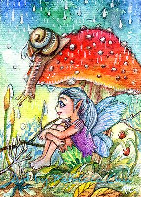 "Used, ACEO LE Art Card Print 2.5""x3.5"" "" Hiding From Rain "" Fairy Art by Patricia for sale  Innisfil"