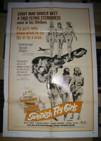 RARE 1971 SWEDISH FLY GIRLS USA MOVIE POSTER NEAR MINT CONDITION