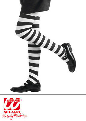 Striped White Tights Halloween Witch Fancy Dress Costume Accessory Kids 1-14 Yrs - White Witch Kids Costume
