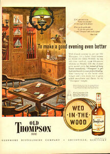 1947 full-page authentic magazine ad for Old Thompson Whiskey