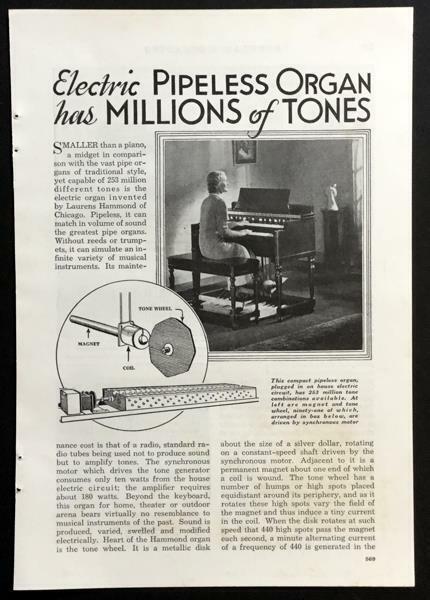 Hammond Model A 1936 Electric Organ Synthesizer original article