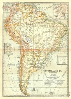 SOUTH AMERICA. Shows explorers routes.Columbus Vespucci Cabot Cabral+ 1903 map