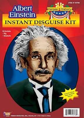 Albert Einstein Costume Accessory Kit 2 Piece White Wig & Mustache History Kit - Albert Einstein Mustache
