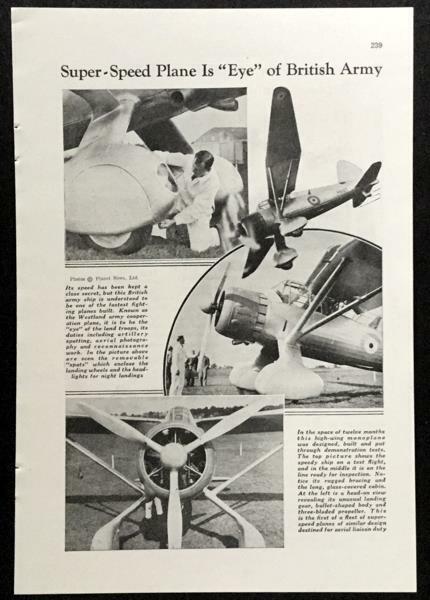 Westland Lysander 1937 pictorial WWII British Army Super-Speed Plane