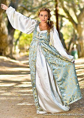 Infant Renaissance Costume (2 PC RENAISSANCE DRESS COSTUME All sizes Baby Blue Empire Dress & Satin)