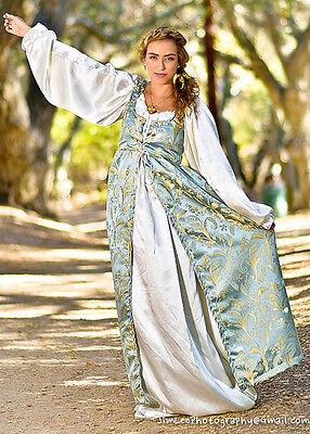 2 PC RENAISSANCE DRESS COSTUME All sizes Baby Blue Empire Dress & Satin - Baby Renaissance Kostüm