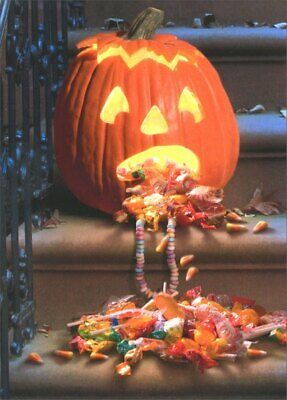 Funny Halloween Cards (Pumpkin Pukes Candy Funny Halloween Card - Greeting Card by Avanti)
