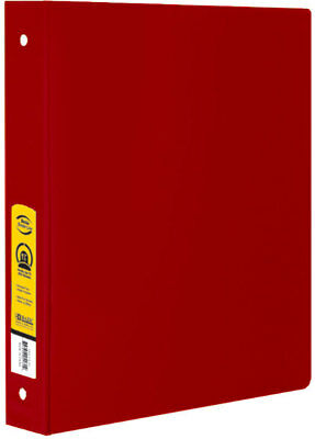 "Bazic Bulk 1.5"" Red 3-Ring Binder with 2-Pockets Case Pack 1"