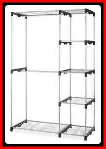 NEW-DOUBLE-CLOSET-Dual-Hanging-Rods-and-5-shelves-2DaysShip