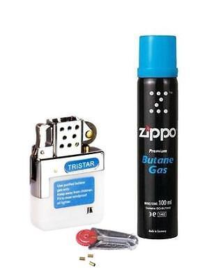 Benzin Feuerzeug Tristar Gaseinsatz mit Reibrad & Zippo Gas + Zippo Feuersteine