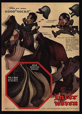 1942 INTER WOVEN Socks - WWII U.S. & Japenese Soldiers Racist Art Gun VINTAGE AD