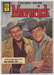 1961 MAVERICK #17 DELL WESTERN COMIC ROGER MOORE COVER VF VF+