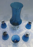 Mediterranean Blue Glass Pitcher 5 Matching Heavy Base Glasses Peterborough Peterborough Area Preview