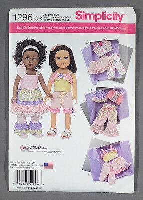 """Simplicity 1296 Pattern to make clothes for American Girl 18"""" dolls - NEW! UNCUT"""