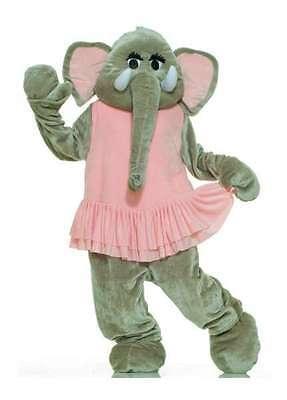 Elefant Maskottchen Kostüm 4 Stück Grau & Pink Kunstpelz Overall Kopf & Füße (Kunst Stück Kostüm)