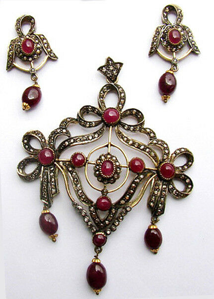 Victorian 3.64ct Rose Cut Diamond Ruby Wedding Pendant Set Shop Early & Save