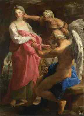 Metal Sign Pompeo Girolamo Batoni Time Orders Old Age To Destroy Beauty A4 (Time Orders Old Age To Destroy Beauty)