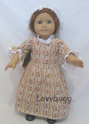 "Lovvbugg Colonial Rose Garden w Cap for 18"" American Girl Felicity Doll Clothes"