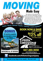 Are you moving? Hills Moving is offering $125.00 off !!
