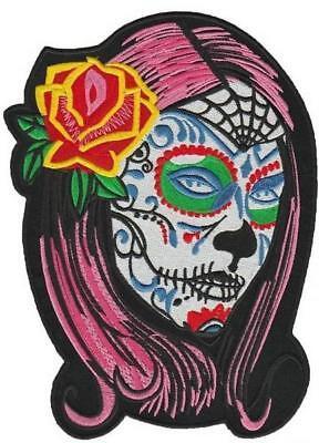 Zucker Schädel Mädchen (Zuckerschädel Tag der Toten Blumenmädchen Aufnäher Rückenaufnäher 24x18cm)