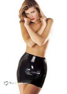 Sharon-Sloane-Latex-Rubber-Black-Mini-Skirt-S-M-L