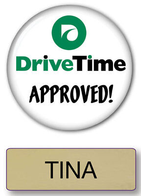 TINA DRIVE TIME COMMERCIAL MAGNET BACK NAME BADGE & BUTTON HALLOWEEN SHIPS FREE (Commercial Drive Halloween Costumes)