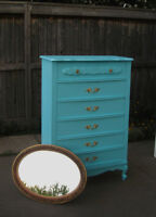 FRENCH PROVINCIAL 5 DRAWER HIGH BOY WITH MIRROR - BONNET