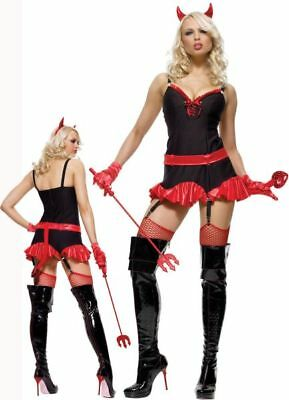 Womens PINSTRIPED DEVIL 3 Piece Sexy Adult Halloween Costume Party Size Medium