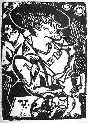 Georg Tappert: Dame im Café Original-Linolschnitt 1918 Lady in the cafe