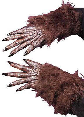 Pelzig braun Werwolf Handschuhe Pelz Hände Klauen Kostüm Halloween NEU